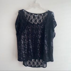 Black Sequined Lace Back Guess Top